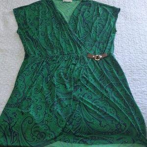 Michael Kors Green and Navy Wrap Dress